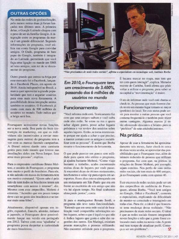 Revista Mês - Reportagem sobre redes sociais de geolocalização
