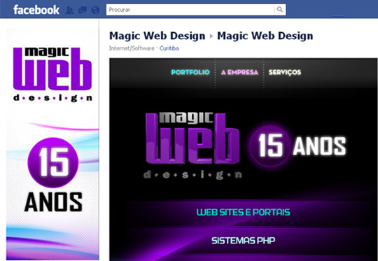 Site da Magic Web Design no Facebook