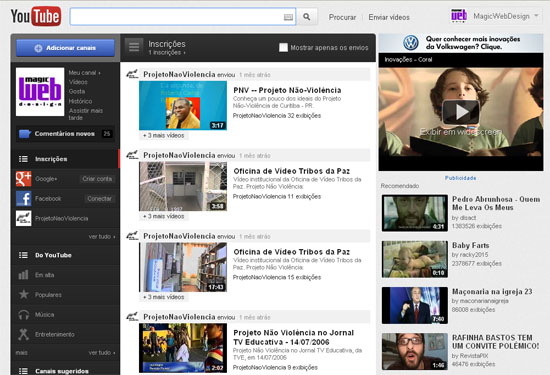Novo YouTube, ainda mais parecido com a TV - Magic Web Design