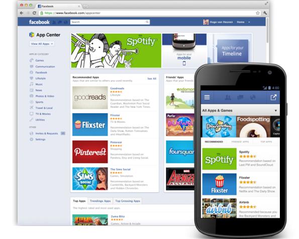Loja de aplicativos no Facebook