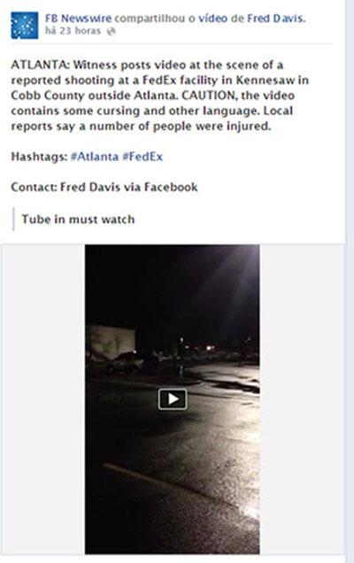 Post sobre o tiroteio no FBNewswire