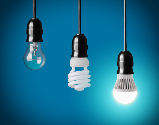 Lâmpada de bulbo incandescente, fluorescente e LED