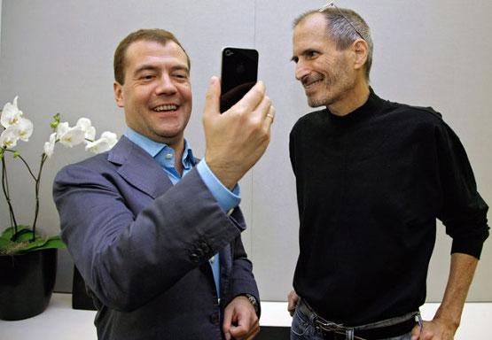 Dmitri Medvedev e Steve Jobs