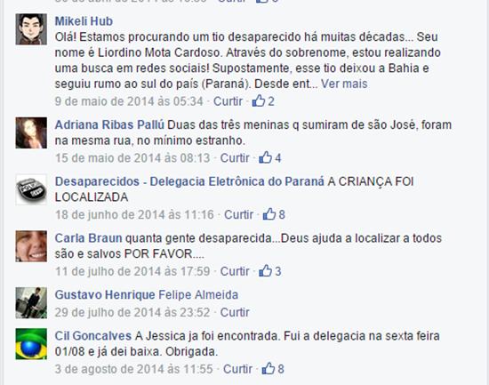 Comentários na página Desaparecidos - Delegacia Eletrônica do Paraná