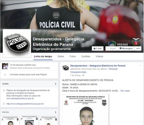 Desaparecidos - Delegacia Eletrônica do Paraná