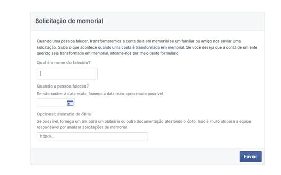 Central de ajuda para o memorial do Facebook