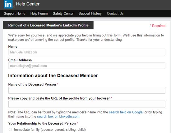 Desativar conta de usuário falecido no LinkedIn
