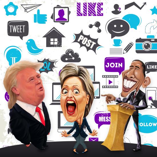 Donald Trump - Hillary Clinton e Barack Obama nas mídias sociais - Magic