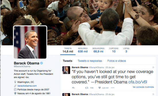 Twitter Barack Obama gerenciado pelo grupo OFA - Magic