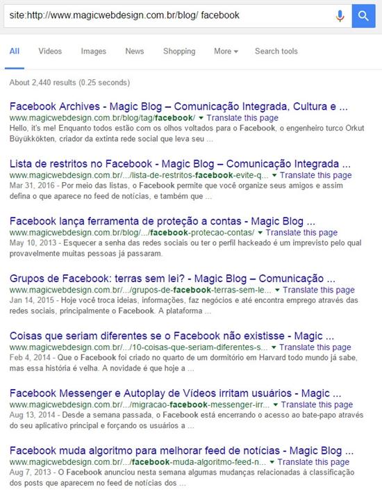 Buscas dentro de um site através do Google