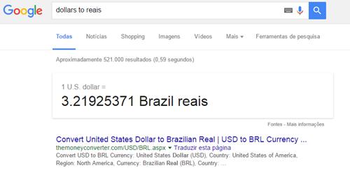 Conversão de moedas no Google