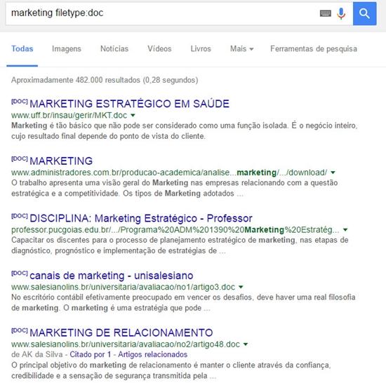 Filtrar buscas por tipo de arquivo no Google