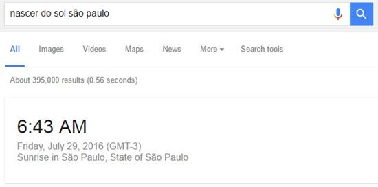 Como saber quando será o nascer ou pôr do sol no Google