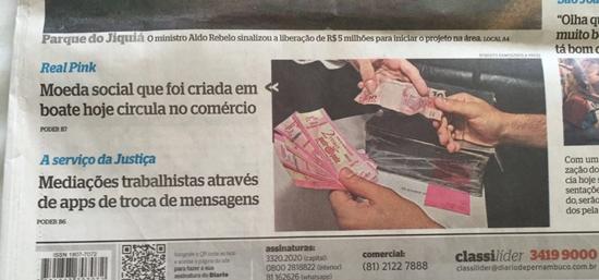 Moeda social Real Pink na imprensa