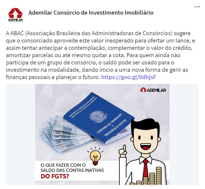Nas atualizações da Ademilar aparecem divulgações de serviços e informações sobre o setor de consórcio de imóveis e mercado imobiliário