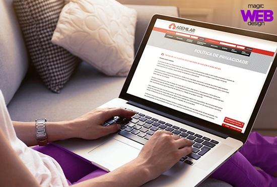 A Ademilar é uma das empresas atendidas pela Magic Web Design que possuem uma política de privacidade em seus site
