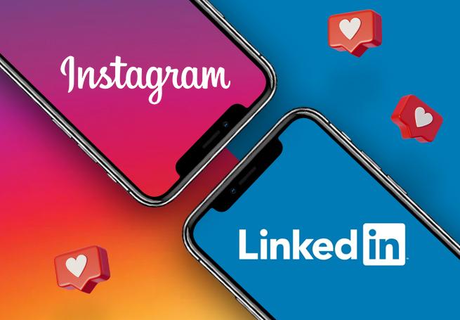 Dois celulares lado a lado com os logos do LinkedIn e do Instagram