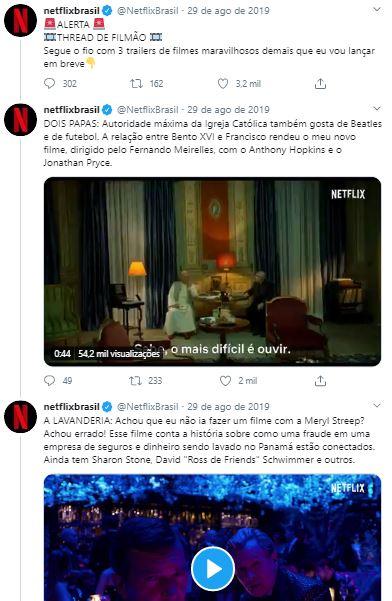 Exemplo de thread no Twitter feito pela Netflix