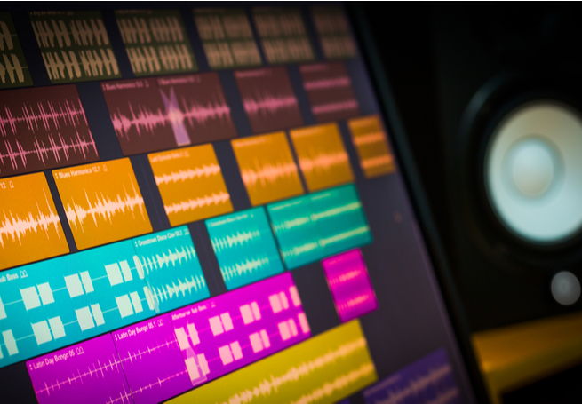 tela de computador com programa de edição de som