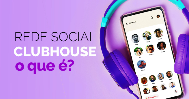 celular conectado a um headphone ao lado do título: rede social clubhouse o que é?